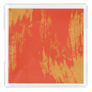Stylish Orange Paint Design Acrylic Tray