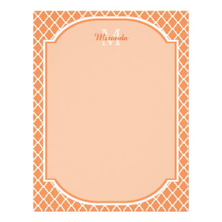 Stylish Orange Quatrefoil Monogram With Name Letterhead