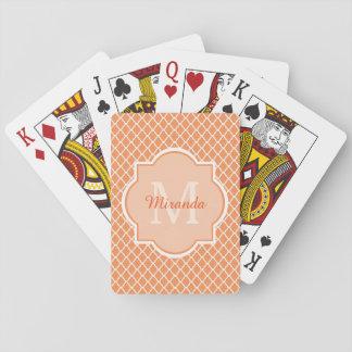 Stylish Orange Quatrefoil Monogram With Name Poker Deck