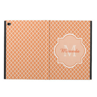 Stylish Orange Quatrefoil Monogram With Name Powis iPad Air 2 Case