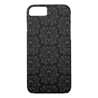 Stylish, ornate damask pattern black and gray iPhone 8/7 case