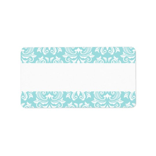 Stylish ornate pale aqua blue white damask pattern