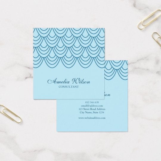 Stylish Outline Blue Geometric Pattern Square Business Card