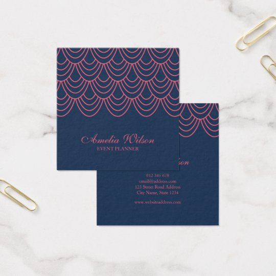 Stylish Outline Pink and Blue Geometric Pattern Square Business Card