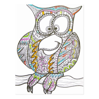 Stylish Owl - Abstract Art Postcard