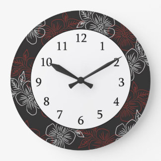Stylish Pattern Red White Flowers On Black Large Clock