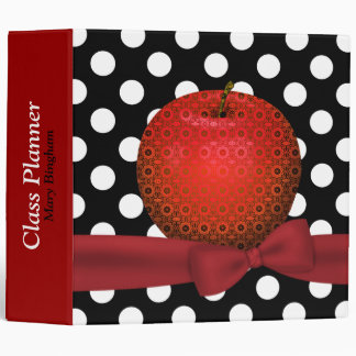 Stylish Patterned Apple Teacher's Class Planner 3 Ring Binder