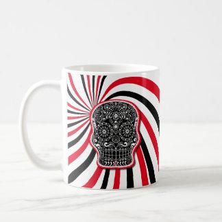 Stylish patterned skull on sunburst coffee mug