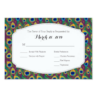 Stylish Peacock Feather Animal Print RSVP Card Announcement