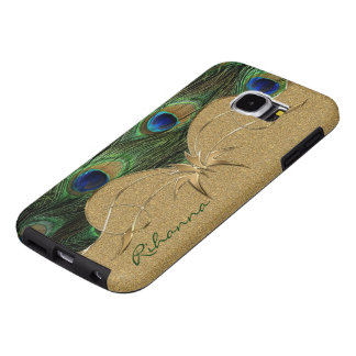 Stylish Peacock Feathers Golden Custom Monogram Samsung Galaxy S6 Cases