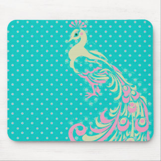 Stylish-Peacock-Turquoise-Cream-Pink Mouse Pad