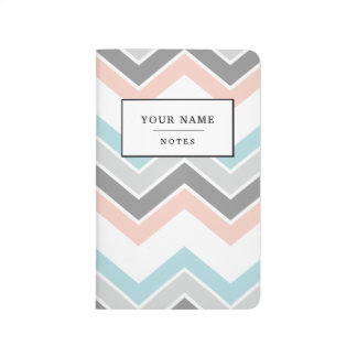 Stylish Personalised Pocket Journal Pastel Chevron