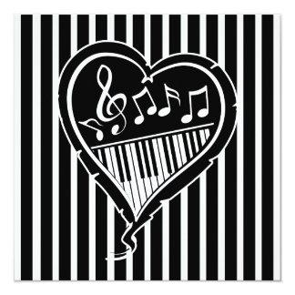 Stylish piano love heart music   Birthday Party Card