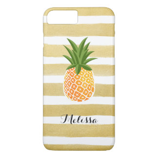Stylish Pineapple Watercolor Gold Stripes iPhone 7 Plus Case