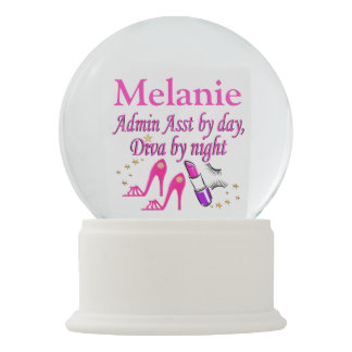 STYLISH PINK ADMIN ASST PERSONALIZED SNOW GLOBE