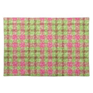 Stylish Pink And Green Checks Pattern Placemat