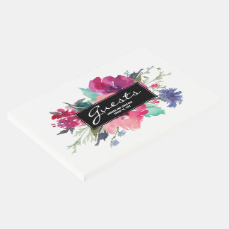 Stylish Pink and Purple Watercolor Floral Bouquet Guest Book