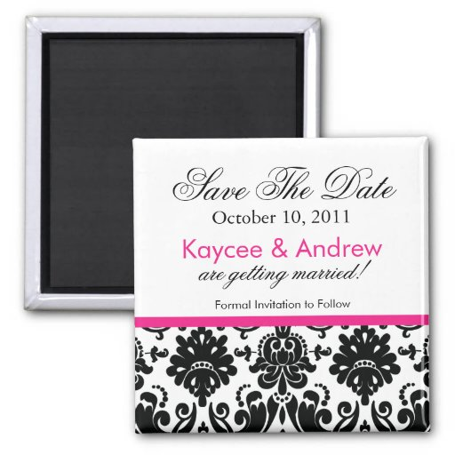 Stylish Pink Damask Save The Date Magnet