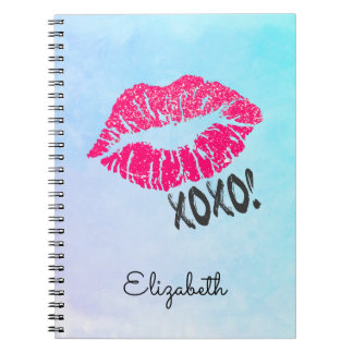 Stylish Pink Kissy Lips with xoxo! Blue Watercolor Notebook