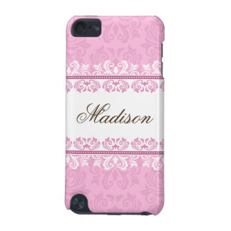 Stylish pink lace damask ipod touch case