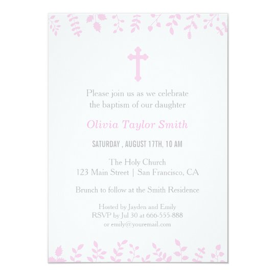 Stylish Pink Leaves Cross Baptism Invitations