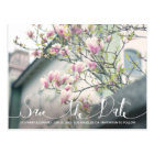 Stylish Pink Magnolia Save the Date Photo Postcard