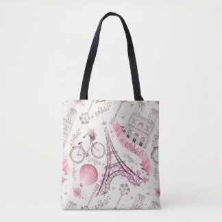 Stylish Pink Paris Eiffel Tower Tote Bag