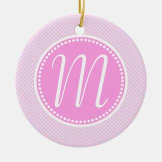 Stylish Pink Pastel Polka Dot Monogram Round Ceramic Ornament