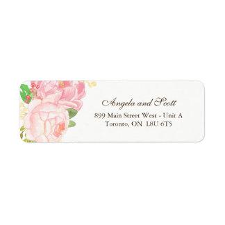Stylish Pink Peonie RSVP Address Labels