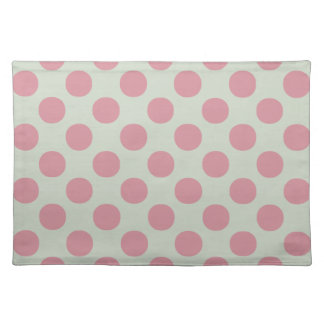 Stylish Pink Polka Dots Light Green Background Placemat