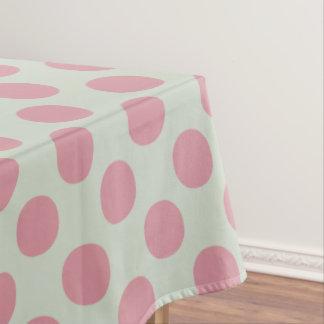 Stylish Pink Polka Dots Light Green Background Tablecloth
