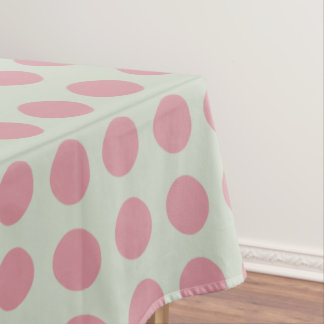 Stylish Pink Polka Dots Light Green Background Tablecloth