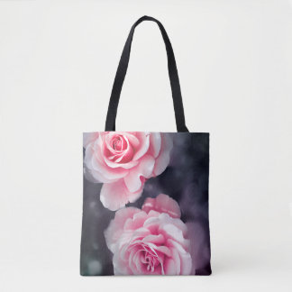 Stylish Pink Roses Floral Photo Tote Bag
