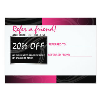 stylish pink scissor hair salon referral card
