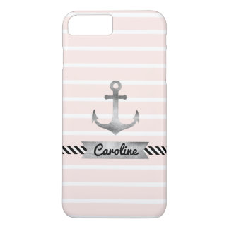 Stylish Pink Stripes Watercolor Anchor Custom iPhone 7 Plus Case