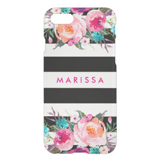 Stylish Pink Watercolor Black White Stripe iPhone 8/7 Case