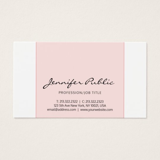Stylish Pink White Creative Simple Modern Design Business Card