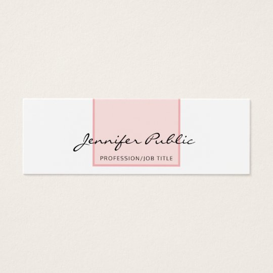 Stylish Pink White Creative Simple Modern Design Mini Business Card