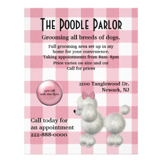 Stylish Pink & White Dog Care Flyer