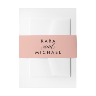 Stylish Pink with Black Calligraphy Invitation Belly Band