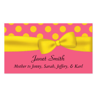 Stylish Pink & Yellow Polka Dot Mommy Card Business Card Templates