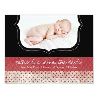 Stylish Polk a Dot Birth Announcement Photo Card