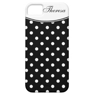 Stylish  Polka Dot Pattern with Name iPhone 5 Cases