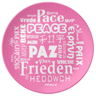 Stylish porcelain plate with pink peace words