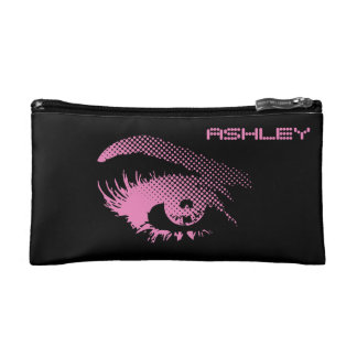 Stylish Pretty Eye of Woman in Halftone Pink Cosmetic Bags