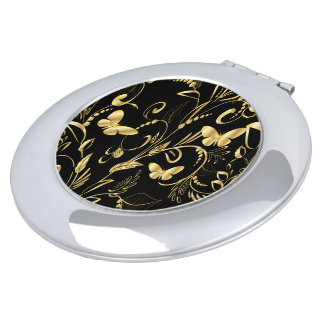 Stylish Printed Faux Gold Butterflies Vanity Mirror