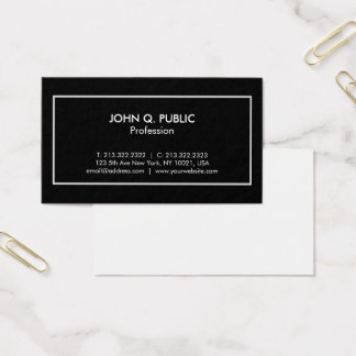 Stylish Professional Elegant Black White Modern Business Card