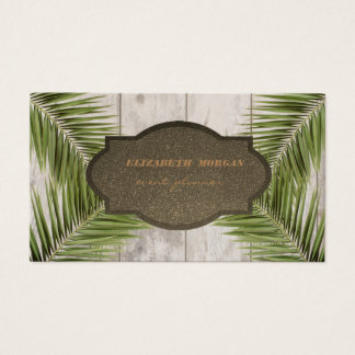 Stylish Professional Palm Leaves ,Wood Texture Business Card
