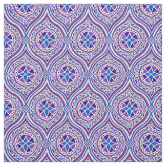 Stylish Purple and Blue Traditional Ogees Fabric