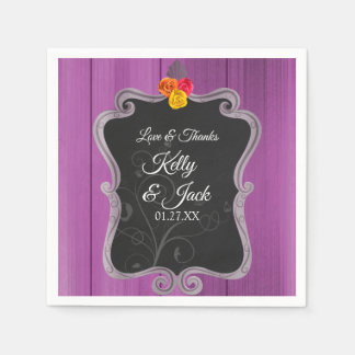 Stylish purple- Chalkboard wedding design napkin